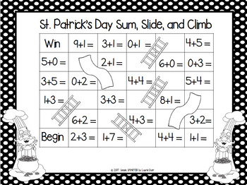 St. Patrick's Day Sum, Slide, and Climb:  NO PREP FREEBIE Addition Game