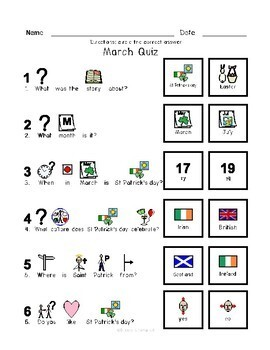 St. Patrick's Day - Symbol Supported Picture Reading Comprehension