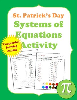 St. Patrick's Day Systems of Equations Coloring Activity