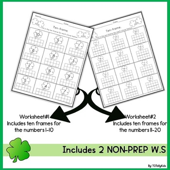 TEN FRAMES: 1-20 Prek & Kindergarten math worksheets.