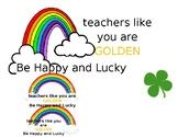St. Patrick's Day Teacher Treat Tag/Sign