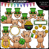 St. Patrick's Day Teddy Bears - Clip Art & B&W Set