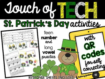 St. Patrick's Day Teen Number & Long Vowel QR Code Task Cards