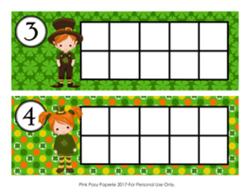 St Patrick's Day Ten Frame Cards