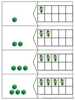 St. Patrick's Day Math Center Ten Frame Number Numeral Tally & Base Ten Match Up