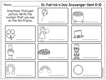 St. Patrick's Day Ten Frame Scavenger Hunt