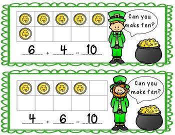 St Patrick's Day Addition Ten Frame Task Cards