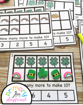 St. Patrick's Day Ten Frame Task Cards Making Ten with Lucky Friends Center