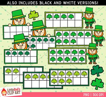 St. Patrick's Day Ten Frames Clip Art