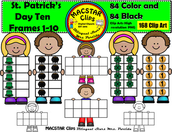 St. Patrick's Day Ten Frames Clip Art Personal and Commercial Use 168 images