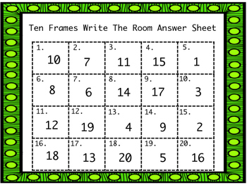 St. Patrick's Day Ten Frames Write the Room GAME!