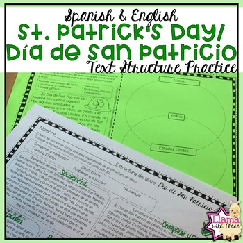 St. Patrick's Day Text Structure Practice in English & Spanish