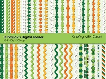 St Patrick's Day Theme Digital Border Clip Art Set