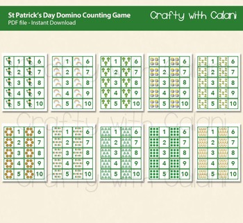 St Patrick's Day Theme Domino Cards, Counting Game 1-10