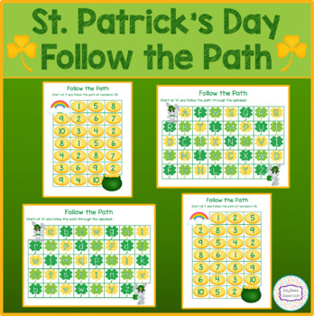 St. Patrick's Day Theme Follow The Path of Letter & Number Maze