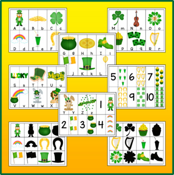 St. Patrick's Day Theme Matching Cards – Letters, Numbers & Shadows