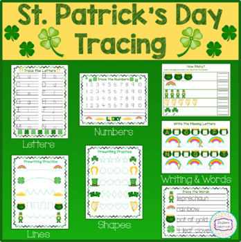St. Patrick's Day Theme Tracing, Pre-Writing, Writing Practice