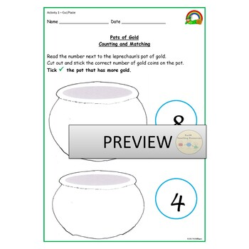 St Patrick's Counting Missing Numbers More/Fewer than Presentation Worksheets