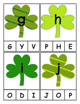 St. Patrick's Day Themed Alphabet Clip Cards