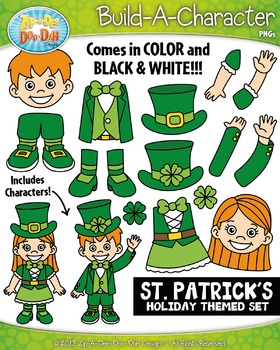 St. Patrick's Day Themed Build-A-Character Clipart Set — Includes 35+ Graphics!