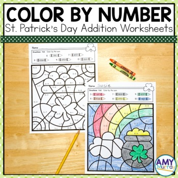 St. Patrick's Day Color by the Code Kindergarten Math Worksheets
