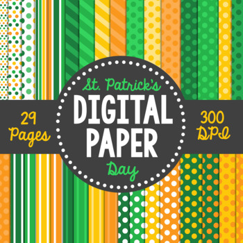 St. Patrick's Day Themed Digital Paper Pack- 33 Pages!