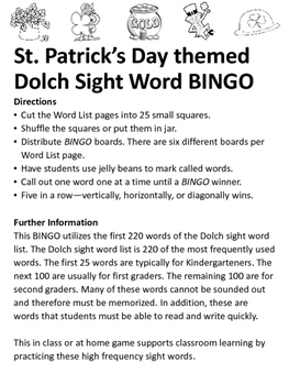 St. Patrick's Day Themed Dolch Sight Word BINGO