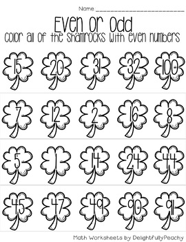 St. Patrick's Day Themed Even or Odd Worksheets FREEBIE!