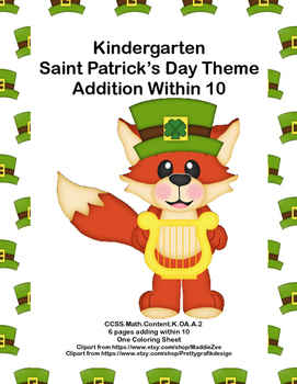 St. Patrick's Day Themed Kindergarten Math -Adding Within 10-CCSS