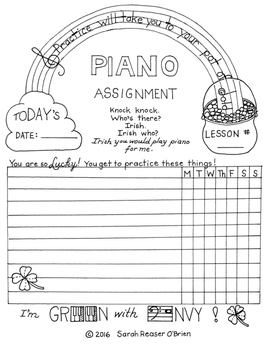 St. Patrick's Day -Themed Piano Lesson Assignment Sheet