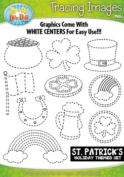 St. Patrick's Day Themed Tracing Image Clipart Set — Inclu