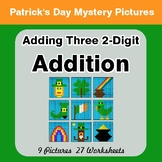 St Patrick's Day: Three 2-Digit Addition - Color-By-Number Mystery Pictures