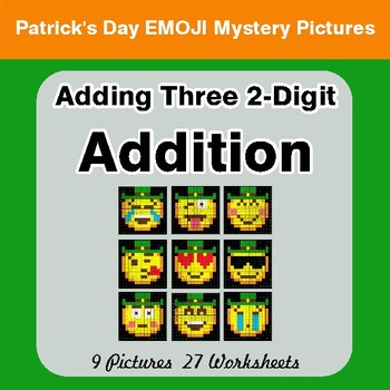 St Patrick's Day: Three 2-Digit Addition - Color-By-Number Math Mystery Pictures