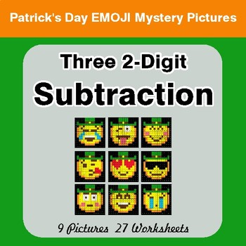 St Patrick's Day: Three 2-Digit Subtraction - Color-By-Number Mystery Pictures