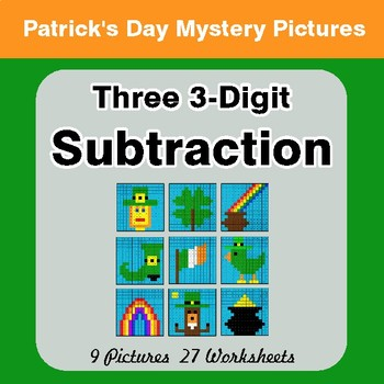 St Patrick's Day: Three 3-Digit Subtraction - Color-By-Number Math Mystery Pictures
