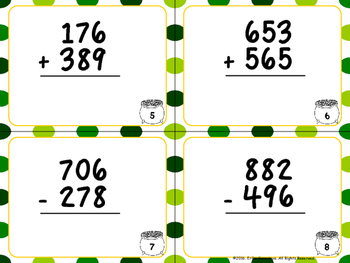St. Patrick's Day- Three Digit Addition and Subtraction Task Cards