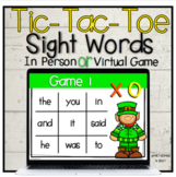 St Patrick's Day Tic Tac Toe | March Sight Word Game | In Person Or Virtual