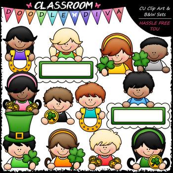 St. Patrick's Day Topper Kids - Clip Art & B&W Set