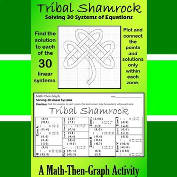 St. Patrick's Day - Tribal Shamrock - Math-Then-Graph - Solve 30 Systems
