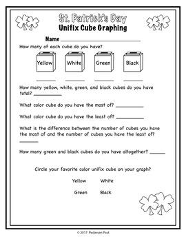 St. Patrick's Day Unifix Cube Graphing Unit