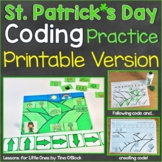 St. Patrick's Day Unplugged Coding Computer Coding Workshe