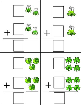 St. Patrick's Day Vertical Addition Dry Erase Cards