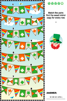 St. Patrick's Day Visual Puzzle with Bunting Flags, Commercial Use Allowed