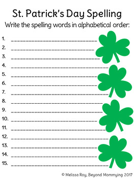 St. Patrick's Day and Ireland Vocabulary and Spelling Activities