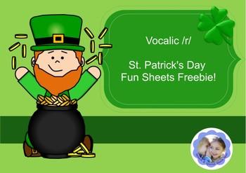 St. Patrick's Day Vocalic /r/ Fun Sheets