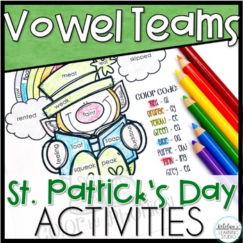 St. Patrick's Day Vowel Digraph Phonics Worksheets and Activities