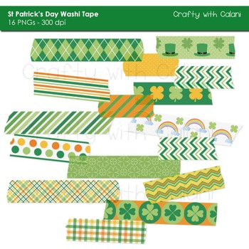 St Patrick's Day Washi Tape Digital Clipart - 16 High Res Washi Tape Clipart