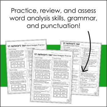 St. Patrick's Day Word Analysis Worksheets (SOL 4.4 and 4.8)
