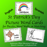 St. Patrick's Day Word Cards - English Spanish for Puzzles, Word Walls