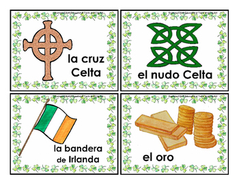 St. Patrick's Day Vocabulary Word Cards in English Spanish for Puzzles